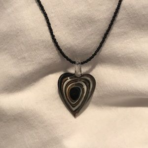 Jewelry - Hand blown glass heart shaped necklace